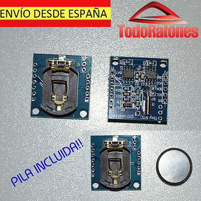 arduino clock de precision I2C RTC DS1307 AT24C32 economic with battery button
