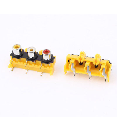 2pcs PCB Mount 3 Position Stereo Audio Video Jack Socket RCA Female Connector