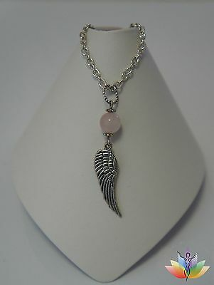 Spiritual Self Love Wings of an Angel Rose Quartz Pendant Necklace Pink