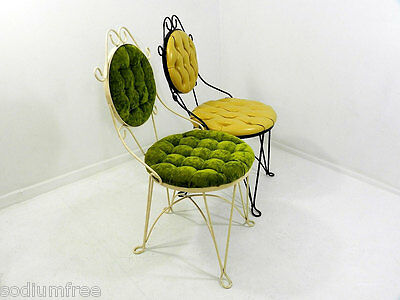 Vtg Set of 2 ice cream parlor metal Wire Chair velvet vinyl upholstery stools