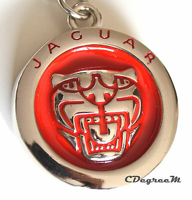 Classic Jaguar Red Silver Metal Keyring Double Sided XE XF XJ F PACE F TYPE