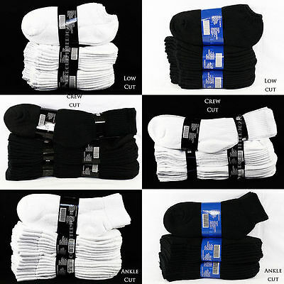 Men Women 4 6 12 Pairs Lot 9-11,10-13 Athletic Sports Crew Ankle Socks White Bk