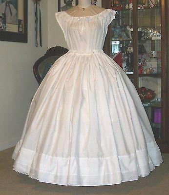 Civil War Dress~Victorian Overhoop Petticoat & Chemise Set~Adjust Waist~Plus Sz