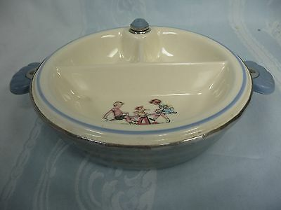 VINTAGE (1940's-50's) DIVIDED BABY FEEDING DISH w/WARMER