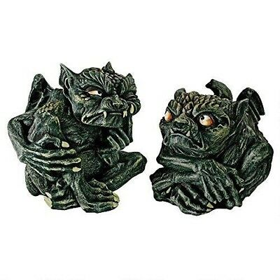 """Set of 2 Small Troll Winged Toad Gargoyle Statue 4""""L Figurine Resin Collectible"""