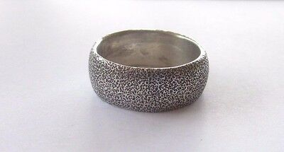 Very Nice Vintage Hammered Sterling Silver Band Ring