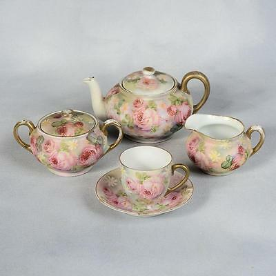 """Royal Bayreuth """"rose Tapestry"""" Small Tea Set For One - Ca. Early 1900's"""