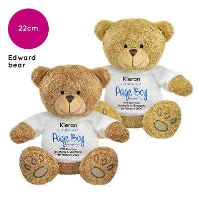 Personalised Name Wedding Soft Toy Edward Teddy Bear Gift Favour Bride Page Boy