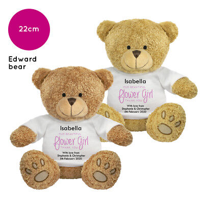 Personalised Name Flower Girl Edward Teddy Bear Wedding Favour Thank You Gift