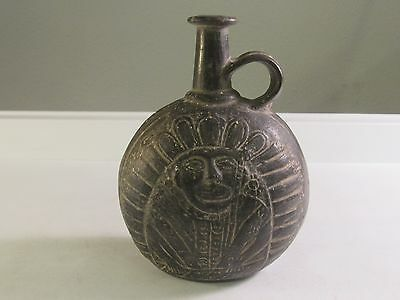 Antique Pre-Columbian Peruvian Chimu Primitive Pottery Decanter Indian Chief