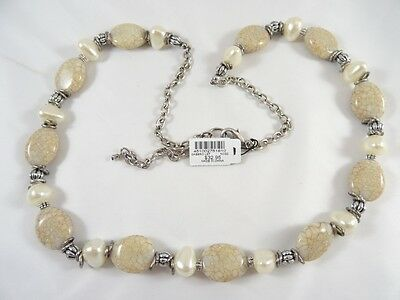 """New 32"""" Long Marlbled Bead Necklace By Chico's New with Tags #N2132"""