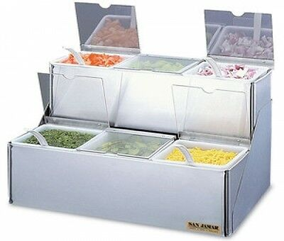 San Jamar (B6706INL) EZ-Chill 2-Tiered Stepped Condiment Center with 6 Trays