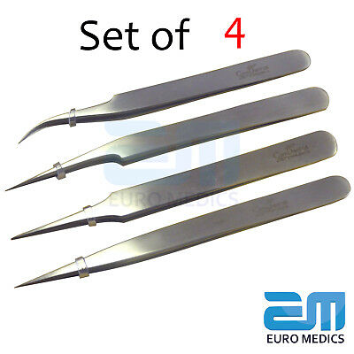 Set of 4 Tweezers, Used for Many Purposes, Dental Surgical Ortho S.Steel CE*