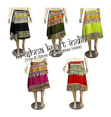 10pc Indian Handmade Rayon Printed Boho Short Wrap Around Skirts Wholesale Lot