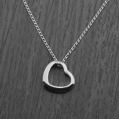"Solid 925 Sterling Silver Floating Heart Pendant Necklace on 18"" Curb Chain"