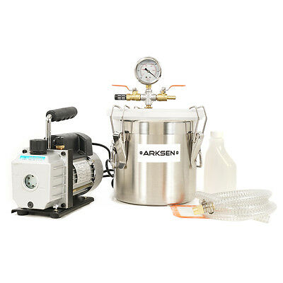 Vacuum Chamber 2 Gallon Set + 3 CFM Single Stage Pump Degassing Silicone Combo