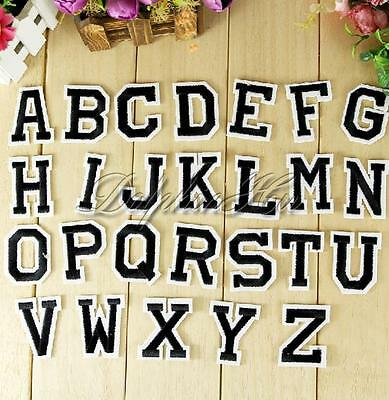 Letter A-Z Embroidered Iron On Patch Sew Motif DIY 1PC Applique Accessories