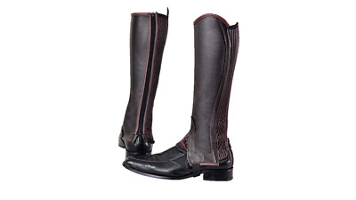Brown Leather Gaiters / Half Chaps with Ribbed Covered Elastic Gusset All Sizes