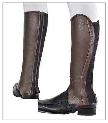 Borraq Brown Soft Leather Gaiters with Elastic Foreway Gusset - All Sizes