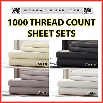 New Morgan And Spencer 1000Tc Thread Count Sheet Set Queen Size 4 Colours