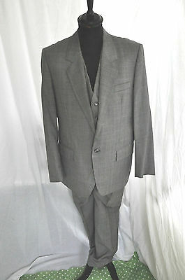 """Vintage bespoke hand tailored grey 3 piece window check suit size large 42"""""""