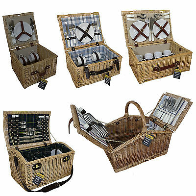 Luxury Wicker Willow Picnic Baskets  2/4 Person Outdoor Hamper Set Cutlery