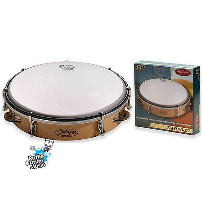 """Stagg 8"""" Tunable Wooden Tambourine - 1 Row of Jingles"""