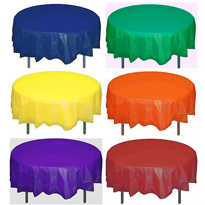 "Solid Colors 84"" Round Plastic Table Covers Tablecloths Party Tablecovers Inches"