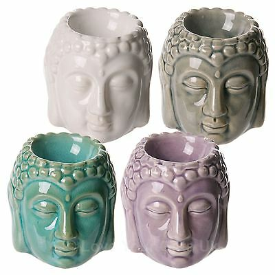 Small Glazed Thai Buddha Head Ceramic Oil Burner 8 cm