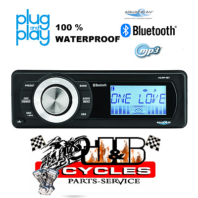 Aquatic Av Harley Factory Replacement Bluetooth Mp3 Am/fm Radio Aq-Mp-5Bt-H