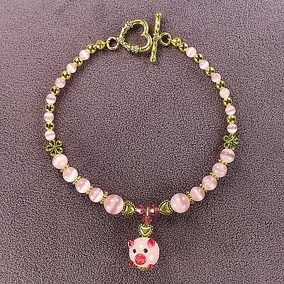 PIG TOTEM BRACELET Piglet Piggy Pink Lampwork Gold Heart Animal Magick Wealth