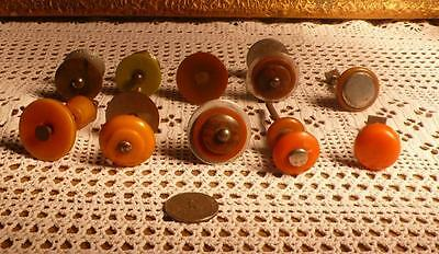 10 Assorted art deco TESTED bakelite metal Pull handles knobs 140 grams (s12364)
