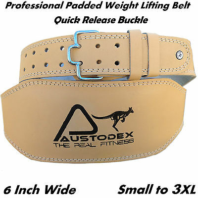 "Austodex 6"" back support Weight lifting bodybuilding weightlifting Leather Belt"