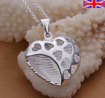 "925 Sterling Silver plt Heart Necklace Pendant Chain Link 18"" Love Gift Bag"