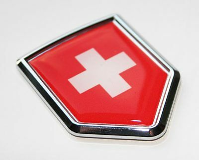 Switzerland Swiss Decal Flag Car Chrome Emblem Sticker