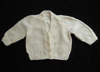 Baby clothes UNISEX BOY GIRL newborn 0-1m white hand-knitted cardigan SEE SHOP!