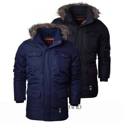 Crosshatch Mens Heavy Weight Fur Hood Parka Padded Winter Coat Jacket