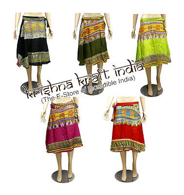 25 Ethnic Designer Printed Gypsy USA Boho Short Wrap Around Skirts Wholesale Lot
