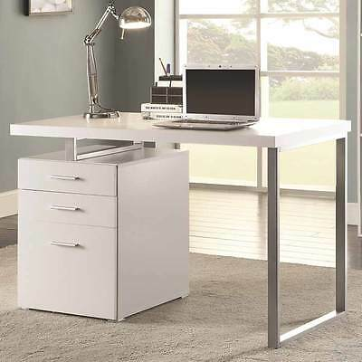 e72c34b00f7c4a Contemporary Home Office Computer Writing Desk File Cabinet Reversible in  White