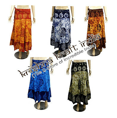 25 Indian Cotton Batik Printed USA Gypsy Long Wrap Around Skirts Wholesale Lot