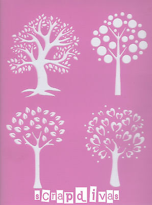 Scrapbooking - STENCILS TEMPLATES MASKS SHEET - Trees Design 48