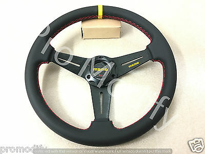 Universal 350mm Leather Low Dish Black Spoke Steering Wheel OMP NARDI SPARCO