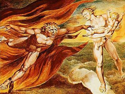 God Judging Adam by Angels by William Blake Giclee Canvas Print