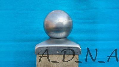 GALVANISED METAL FENCE POST CAP WITH BALL TOP / RAILING CAP 50mm - 120mm