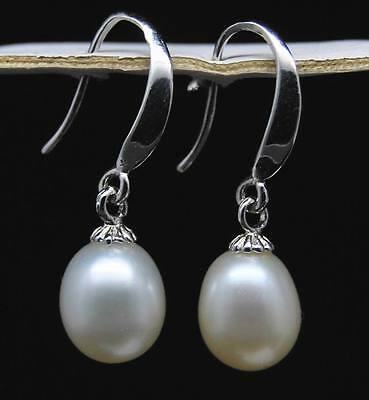 GW wholesale 10 pair real AAA+ 8-9MM White Pearl dangle Earring
