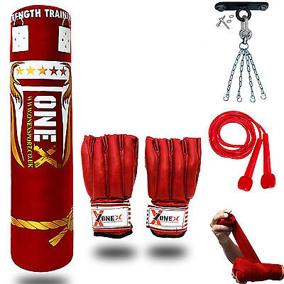 Heavy Filled Boxing 5ft Punch Bags Set Hook Chain MMA Training Focus Pad MMA