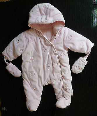 Baby clothes GIRL 0-3m George pink snowflake velour hood poppers pramsuit padded