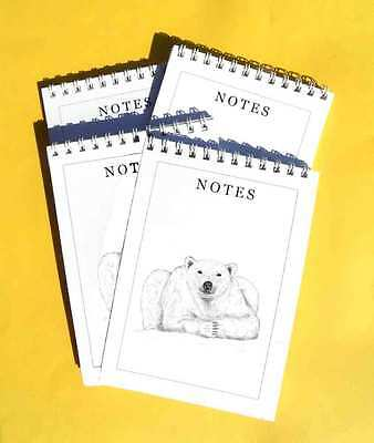 Polar Bear Looking Pack of 4 A6 Note pads Gift Set Wild Animal