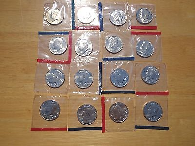 1980 1981 1984 -1987 1988 1989 P & D Kennedy Half 16 Coin Set Sealed Mint Cello