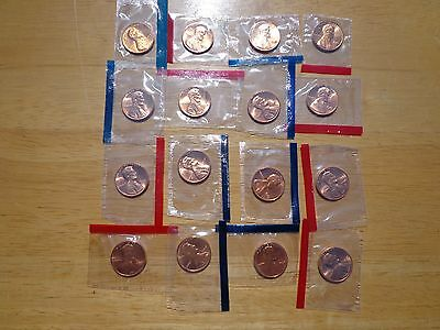 1980 1981 1984 - 1987 1988 1989 P & D Lincoln Cent 16 Coin Set Sealed Mint Cello